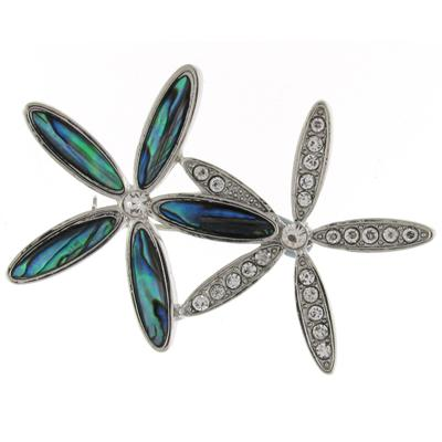 Brooches Store Abalone Paua Green Shell and Clear Crystal Feather Brooch A0sJf
