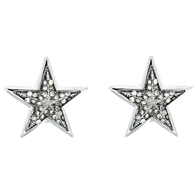4be640e9f Silver and Crystal Large Star Clip On Earrings