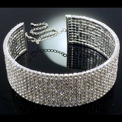 10 Row Large Silver And Diamante Crystal Statement Choker